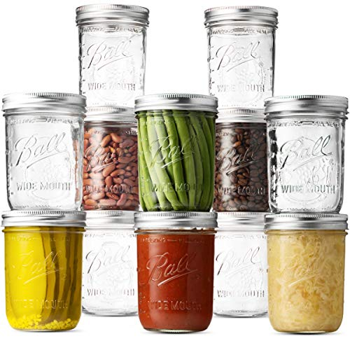Ball Wide Mouth Mason Jars (16 oz/Pint capacity) 12 Pack. With Airtight lids and Bands - For Canning, Fermenting, Pickling, Freezing - Jar Decor. Microwave & Dishwasher Safe. + SEWANTA Jar Opener from SEWANTA