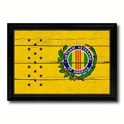 "Vietnam War American Veterans Military Vintage Flag Black Framed Canvas Print Home Decor Wall Art Gifts Signs Cards 19""x27"""