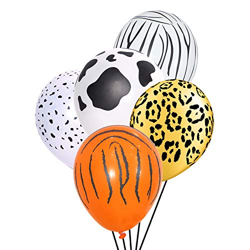 Jungle Safari Animal Balloons 50 PCS Safari Zoo Animals Party Supplies Jungle Birthday Party Birthday Decorations Tiger Leopard Cow Zebra Dalm]()