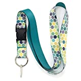 Buttonsmith Geometric Stars Premium Lanyard with Buckle and Flat Ring - Made in The USA