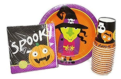 halloween theme party supplies pack halloween plates halloween napkins halloween cups witch