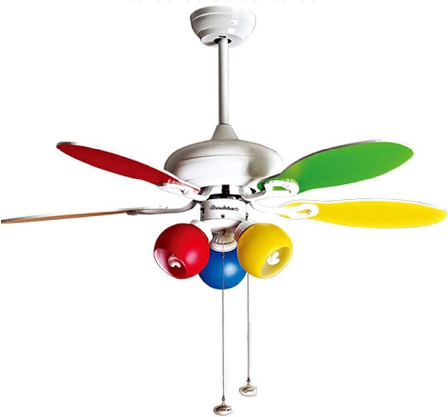 YMGW Ventilador de techo con Luz Colores Pastel, 3 Velocidadesaspas, 2 Sentidos de Giro,107 cm de Diámetro, Lámpara de Techo para Habitación de Niños Guardería Salón Dormitorio