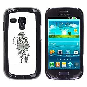 GOODTHINGS ( NO PARA S3 i9300 ) Funda Imagen Diseño Carcasa Tapa Trasera Negro Cover Skin Case para Samsung Galaxy S3 MINI I8190 I8190N - lápiz chica dibujo arte artista sentado falda larga