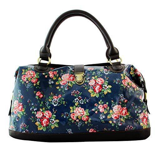Oil Cloth Owl Floral Ladies Tote Shopper Shoulder Bag-X1262 Flower Dark Blue