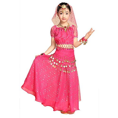 Pilot-trade Kid Elegant Belly Dance Costume Set Outfit Shiny Top Skirt Hip scarf Dark Pink (Sexy Belly Dance Costumes)
