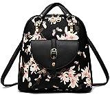 Women's Summer Cute PU Leather Student Bag Backpack Shoulder Bag (flower)