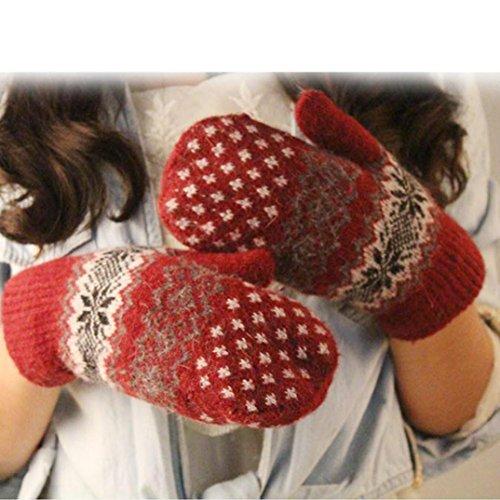 DZT1968® Knit Wool Women Girl Snowflake Winter Keep Warm Mittens Gloves (Red)