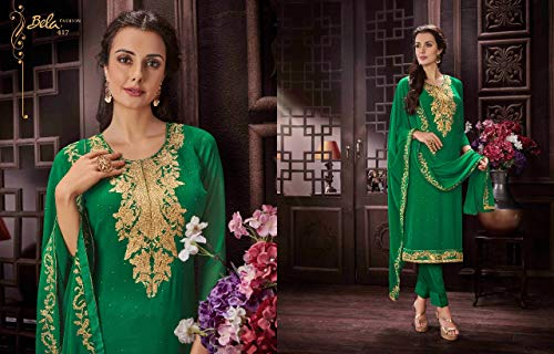 donna Donna Georgette Pakistani da New Completo Kameez Indian Pantalone Party da dritto da Kamiz 2876 Girl Women sposa Abito Salwar Dirndl Dritto donna Kurti Bollywood Top S1wq5wa