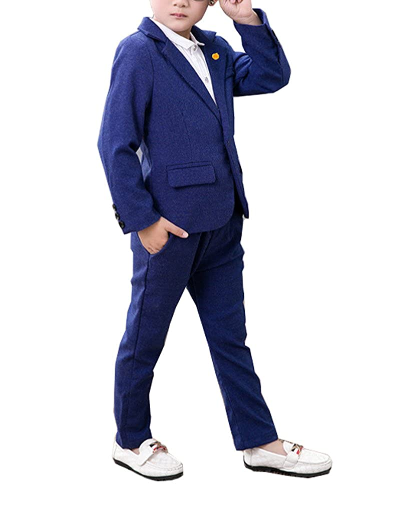 Amazon.com: yufan niños azul Suit Set 2 piezas Blazer y ...