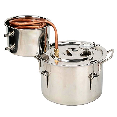 OLizeeTM 2 Gallon Stainless Steel Water Alcohol Distiller Copper Tube Moonshine Still Spirits Home Brew Kit Distiller 8L Wine Making Essential Oil Boiler Easy Operation (Stainless Steel Distiller compare prices)