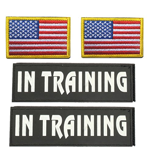 GrayCell Military Morale Service Dog Patches for Pet Tactical K9 Service Harness Vest Pack of 4 (3) (Harness Tactical Molle)