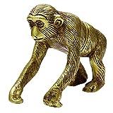 stylewise Table Office Decor Brass Metallic Gold Monkey Statue Metal Art Decorative Gift