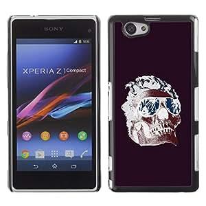 """For Xperia Z1 Compact D5503 Case , Frescos Shades Llamas cráneo púrpura de la Muerte"""" - Diseño Patrón Teléfono Caso Cubierta Case Bumper Duro Protección Case Cover Funda"""