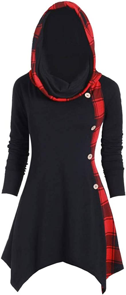 RUIVE Women/'s Plaid Print Blouse Turtleneck//Hooded Button Asymmetric Tops Casual Long Tartan Tunic Sweatshirt