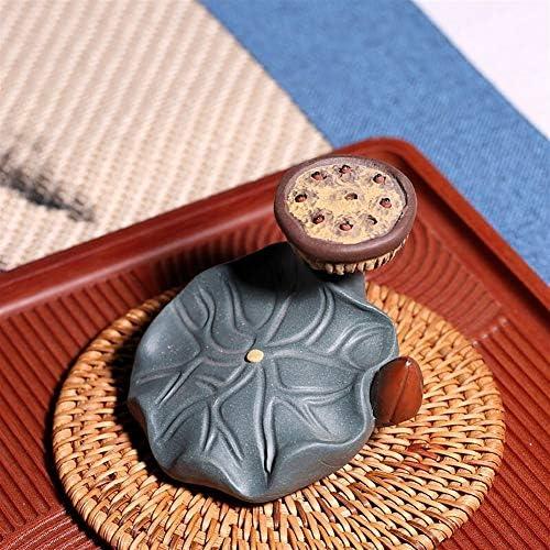 XueQing Pan 宜興茶ペットワニの蓮彫刻ティートレイティー用品の装飾品 (Size : Green mud)