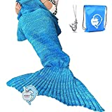 "LAGHCAT Mermaid Tail Blanket Crochet and Mermaid Blanket for adult, Super Soft All Seasons Sleeping Blankets, 71""x35.5"", Blue"