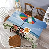 55 x 120 Inch Tablecloth Pair of Chairs and Colorful Umbrella on The
