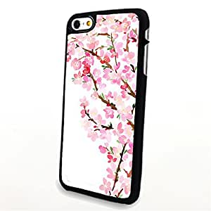 Iphone 6 Case, Generic Phone Accessories Matte Hard Plastic Cases Covers Skin Back Clear Pattern Flower Sakura for Apple Iphone 6 4.7 Inch (Black)