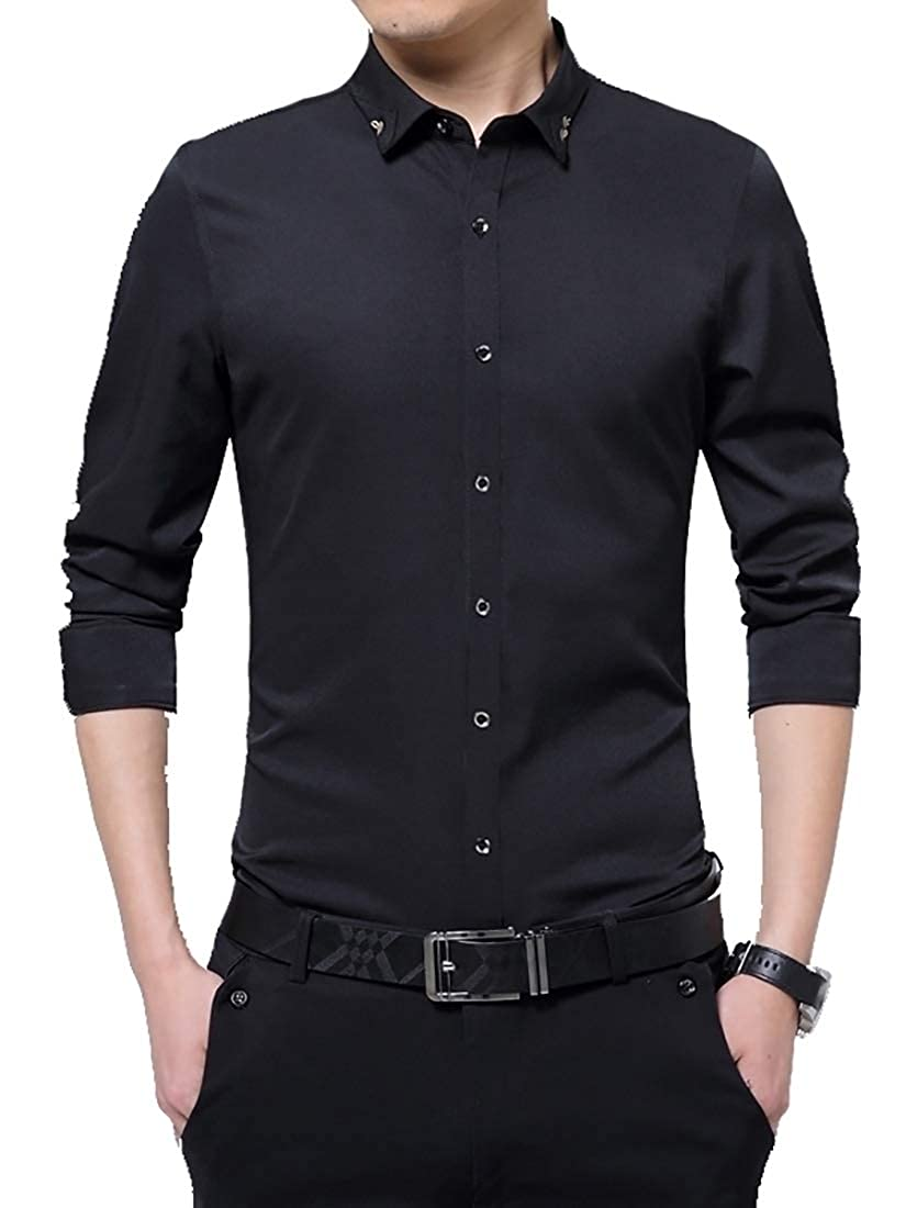 Miracle Mens Business Easy Care Shirt Casual Solid Button Down Dress Shirts