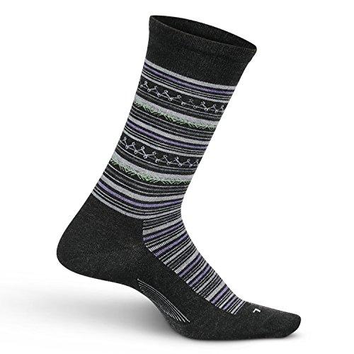 - Feetures Women's Everyday Performance Dress Sock - Santa Fe Ultra Light Crew - Charcoal - Size Medium