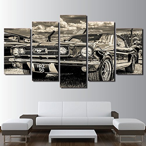 Modular HD Print Artwork Modern Sports Car Poster Home Decor Wall Art 5 Pieces Pictures 1965 Ford Mustang Canvas Painting ,30x50 30x70 30x80cm,Frame