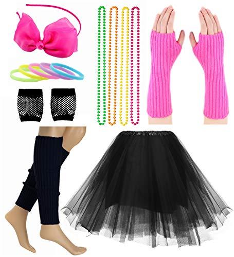 Child Girl 80's Accessories Set Tutu Skirt with Neon Bracelet Necklace Set ()