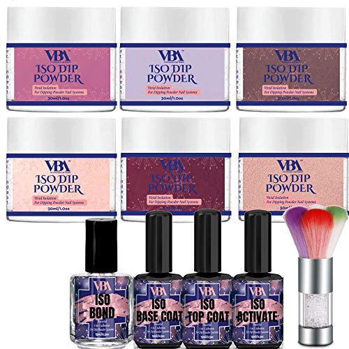 Nail Dip Powder Kit Color Set VBA 6 Professional Pigmented Dipping Polish Starter Collection for Dipped Manicure Powdered System (Essential Dip Kit) from Velvet Beauty Affair