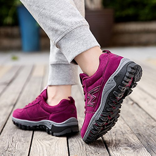 gracosy Women's Hiking Trekking Shoes Outdoor Low Rise Hiking Trail Shoes Lightwight Trainers Breathable Running Walking Shoes Sport Gym Non-Slip Lace-up Climbing Shoes Sneaker for Women Red nWUHSpofWt