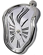 FAREVER Melting Clock, Salvador Dali Watch Melted Clock for Decorative Home Office Shelf Desk Table Funny Creative Gift, Silver