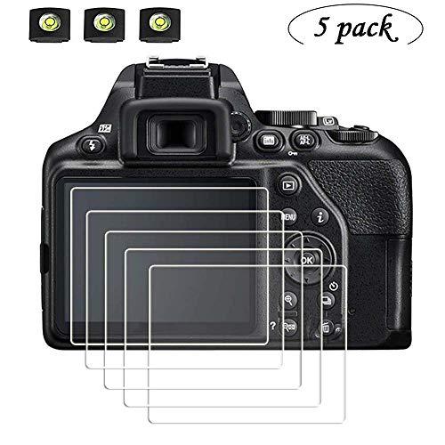(Screen Protector, Appliable for Nikon D3500 D3400 D3300 D3200 DSLR Camera (5 Pack) & Hot Shoe Cover(3 Pack),9H Hardness Tempered Glass Flim Anti-Scrach Anti-Fingerprint Anti-Bubble Anti-Water)