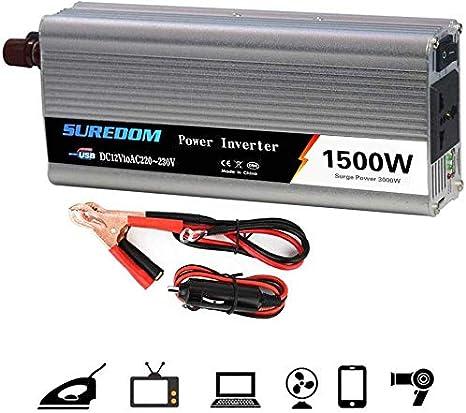 DJNBQ Power Inverter 1000W 1500W 2000W (potencia continua) 12 / 24V DC for enchufes de 110 / 220V AC coche convertidor de corriente alterna con puertos USB, al aire libre Fuente de alimentación de eme