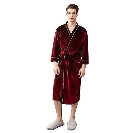 Inicio Vestido Hombre Albornoz Rodilla Bata Bata De Casa Bata Hombre (Color : Vino Rojo