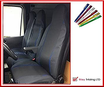 PREMIUM BLUE PIPING VAN SEAT COVERS SINGLE PEUGEOT BOXER ALL YEARS DOUBLE