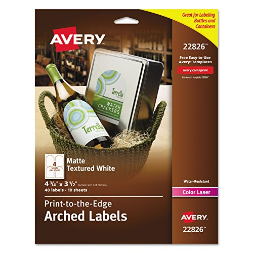 Free Label Making Software - Avery Print - To - The - Edge Arched Labels, Matte Textured White, 4.75 x 3.5 Inches, 40 Labels (22826)