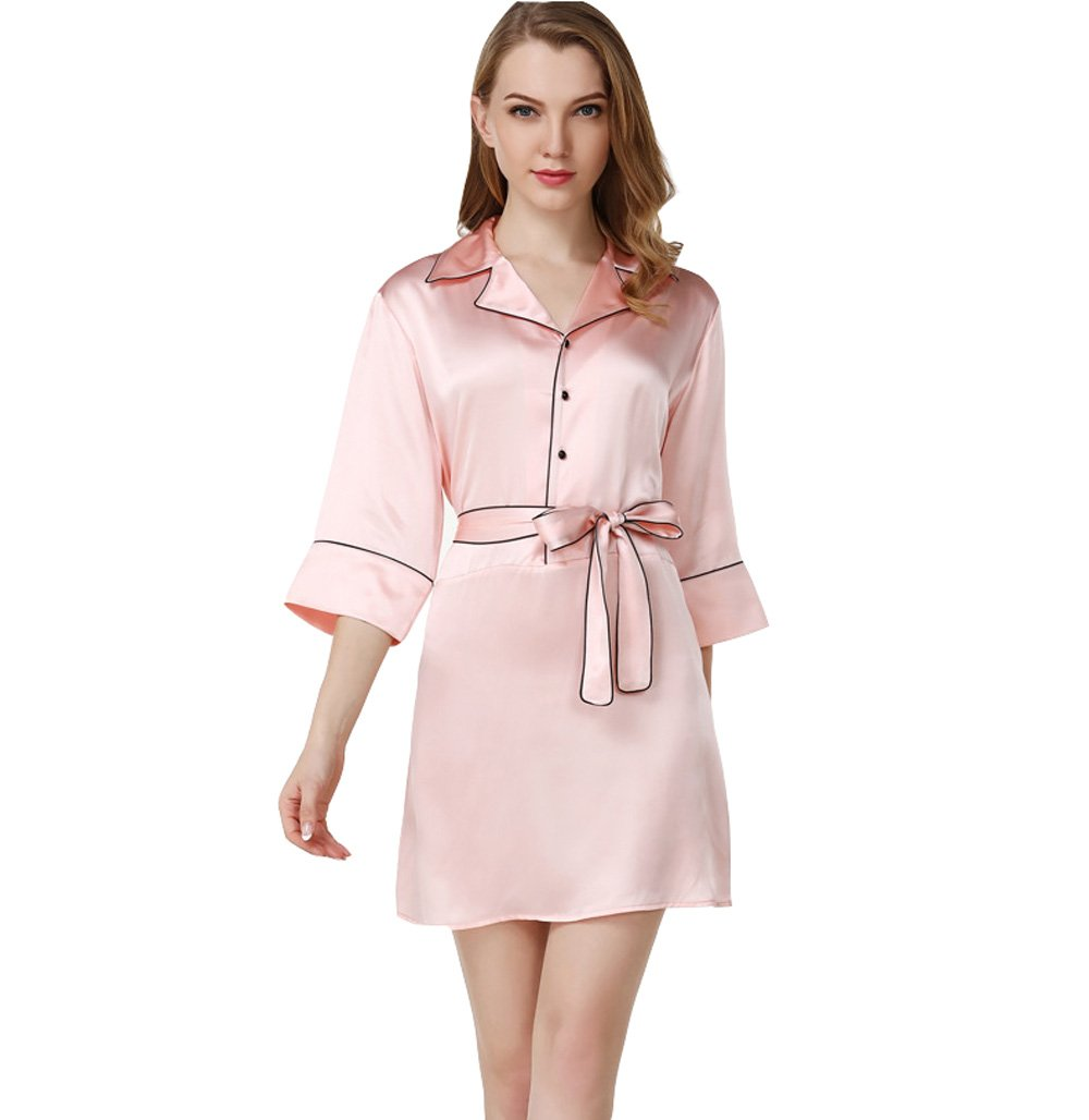 Sunshine Fashion and Simple Silk Long Sleeves Lingerie Pajamas,100% Mulberry Silk Nightgown Sleepwear