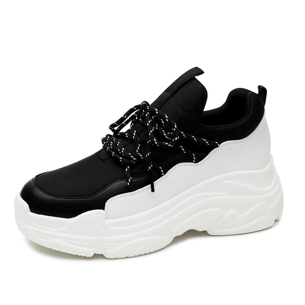 LVZAIXI Schuhe Sportschuhe Ultra Feuer Schuhe Plateauschuhe Koreanische Version Student Winter Damenschuhe Gemütlich (Farbe   Schwarz, Größe   EU36 UK4 CN36)