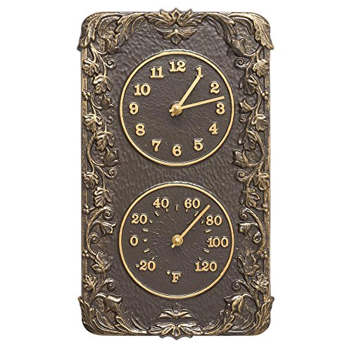 Teak Clock - Whitehall Products Acanthus Combo Clock, French Bronze