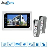 Jeatone 7 inch LCD Monitor Door Viewer Camera With Doorbell Function For Home Security 120 Degree Wide Angle 1200TVL 1 Monitor 2 cameras