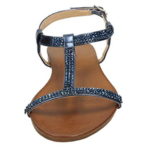 Spot On Ladies Flat Diamante T-Bar Sandals Navy (Blue) 9YlIF