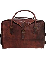 21 Mens Retro Style Carry on Travel Luggage Flap Duffle Vintage Leather Duffle Bag