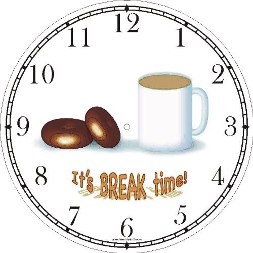 Coffee Doughnuts or Donuts – It s Break Time – JP Wall Clock by WatchBuddy Timepieces Hunter Green Frame