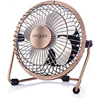 OPOLAR Mini USB Table Desktop Personal Fan (Metal Design, Quiet Operation; 3.9 feet USB Cable, High Compatibility - Bronze)