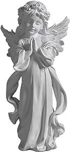 LIUSHI Beautiful Angel Cherub Praying Statue Ornament Resin Garden Figurine Indoor Outdoor Decoration Wings Angel Sculpture Memorial Gift Present