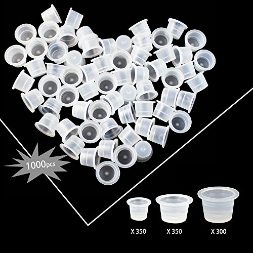 Wormhole Tattoo Ink Pigment Caps Cups 1000 pcs, Mixed Sizes #9 Small #13 Medium #16 Large