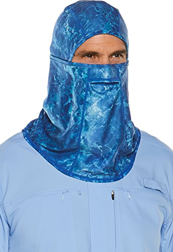 Coolibar UPF 50+ Men's Women's Abacos Fishing Mask - Sun Protective (Large/X-Large- Blue - Large/x Mask Large Face