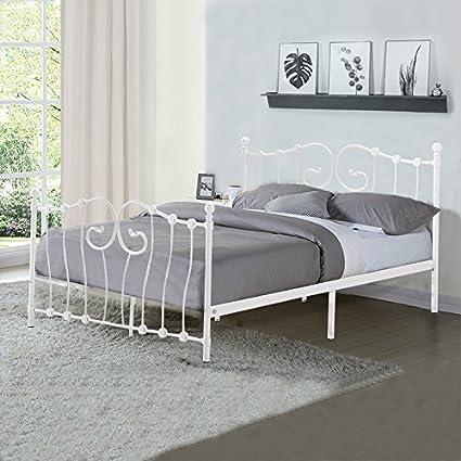 Metal doble cama 4 ft6 cama marco, willstone hierro base para ...