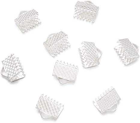Craftdady 100Pcs Silver Iron Textured Ribbon Crimp Ends 8x6mm Fastener Clamps Cord Ends Connectors for DIY Jewelry Making