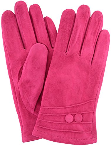 """Ladies Suede Gloves with Fleece Lining and Two Button Design - Pink - Large (7.5"""")"""