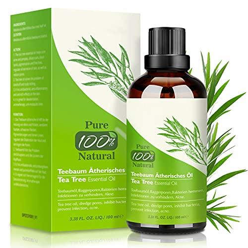 Huile Essentielle Tea Tree 100 ML, 100% Naturelle Huile Essentielle Arbre à Thé-Anti Acné,Boutons,Points Noirs,Ongles,Cheveux et Corps, Huile Arbre à Thé pour Diffuseur d'Aromathérapie et Massage