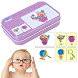 Learning Flash Cards, Game Puzzle Cognitive Matching Cards Early Reading Program With Iron Box for Baby Children Kids Toddler Kindergarten Improve Brain-hand Coordination(Living Goods)